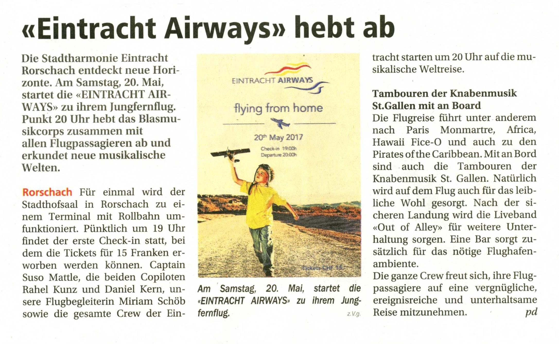 Eintracht Airways hebt ab - Vorschau auf das Fr�hlingskonzert der Stadtharmonie Eintracht