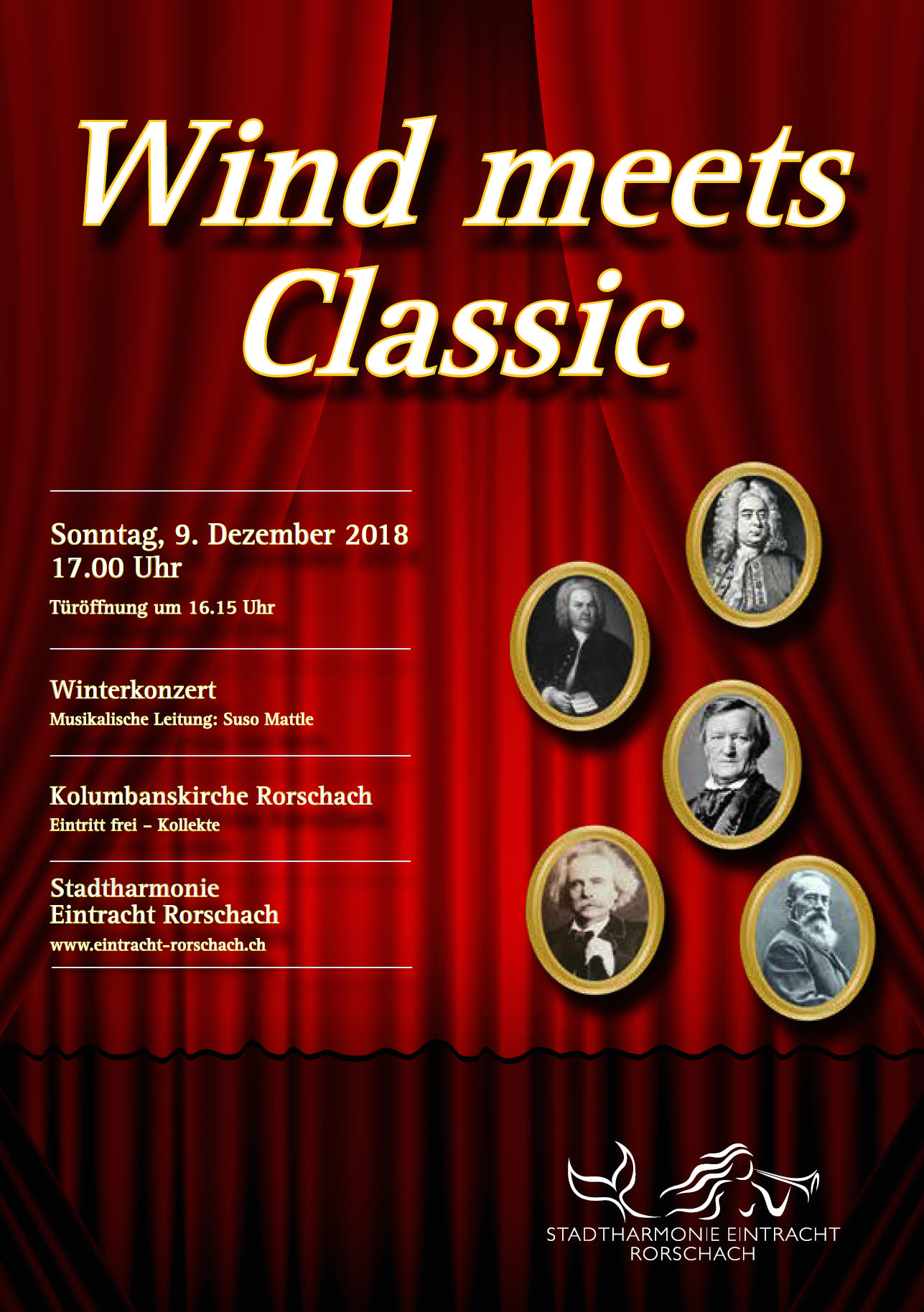Deckblatt des Flyers des Winterkonzertes der Stadtharmonie Eintracht Rorschach